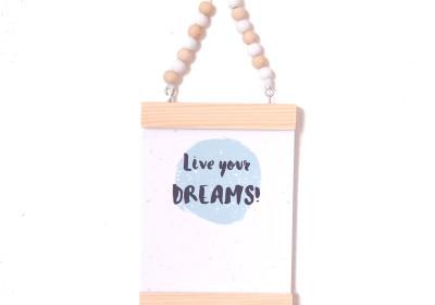 Kaarthanger, kaartenhanger, kralen, hout, Live Your Dreams, kaart