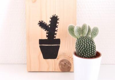 Woodart Cactus - Houten schilderij cactus
