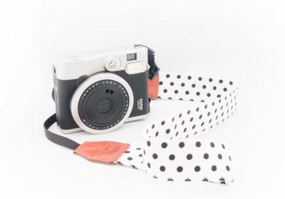 Camerariem Dots met wit zwart stippen