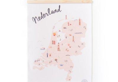 Posterhanger nederland geïllustreerd illustratie kaart map
