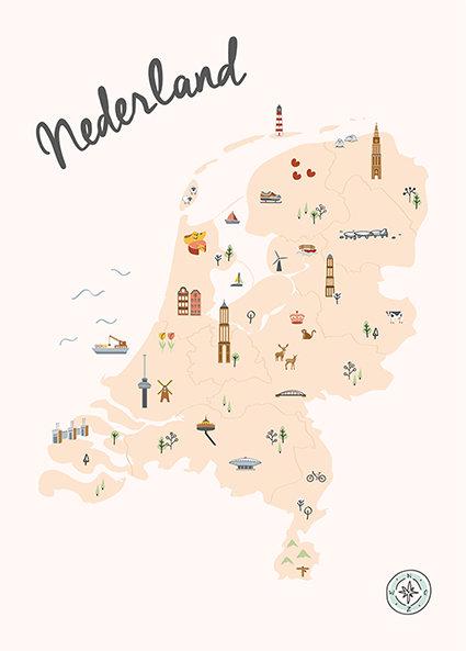 Poster Nederland in kaart - roze