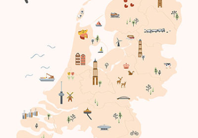 nederland geïllustreerd illustratie kaart map
