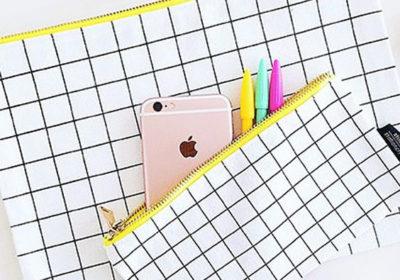 Canvas bag Grid XL wit zwart geel opbergen etui bureau