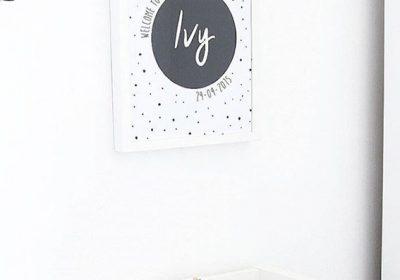 gepersonaliseerde poster kinderkamer baby geboorte kraamcadeau hippe mama's zwart wit stipjes ivy