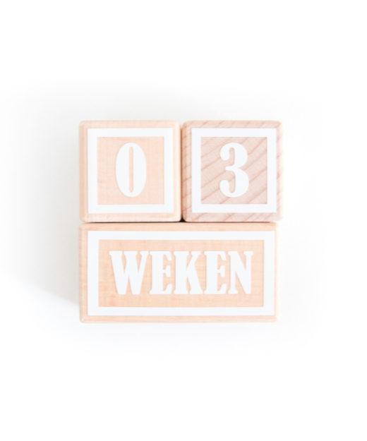 Houten mijlpaal blokken met witte letters en cijfers XS.