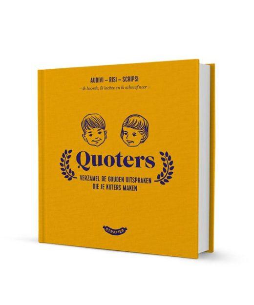 Uitsprakenboekje Quoters. In dit leuke boekje kan je al de legendarische uitspraken van je kids bewaren. Fijn om te koesteren en later nog eens goed mee te lachen.
