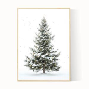 Kerstboom poster groen met sterren en sneeuw. Oh denneboom!