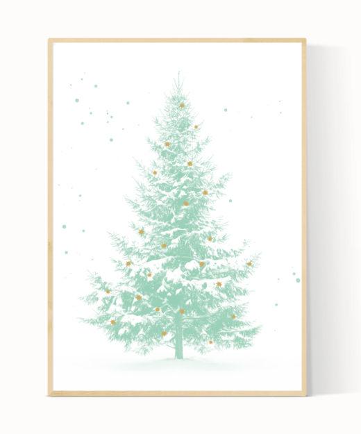 Een mint groene kerstboom poster