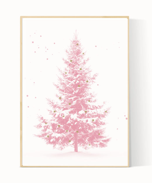 Kerstboom poster roze
